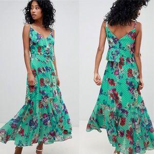 ASOS | Ruffle Striped Floral Green Maxi Dress 10